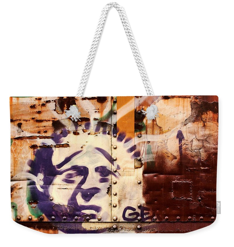 Graffiti Weekender Tote Bag featuring the photograph Train Art Statue Of Liberty by Carol Leigh