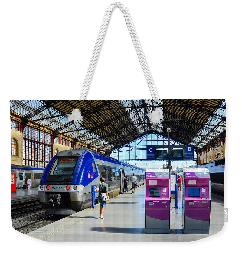 Marseille Weekender Tote Bag featuring the photograph Train Station Marseille France by Jeff Black