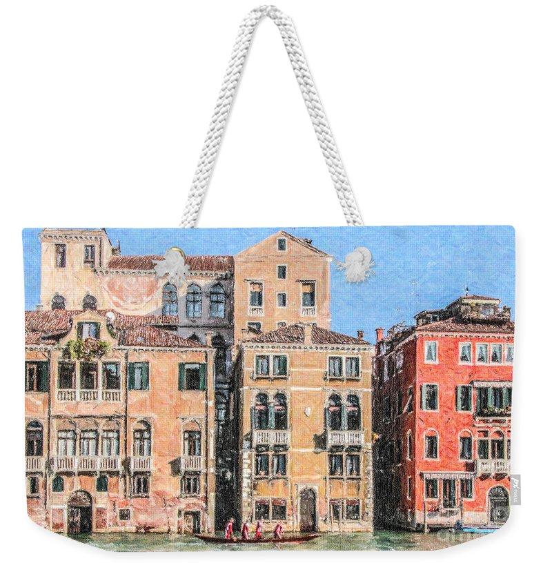 Grand Canal Weekender Tote Bag featuring the digital art Training On The Grand Canal by Liz Leyden