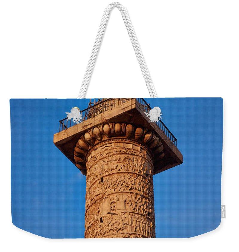 Lehto Weekender Tote Bag featuring the photograph Trajans Column by Jouko Lehto