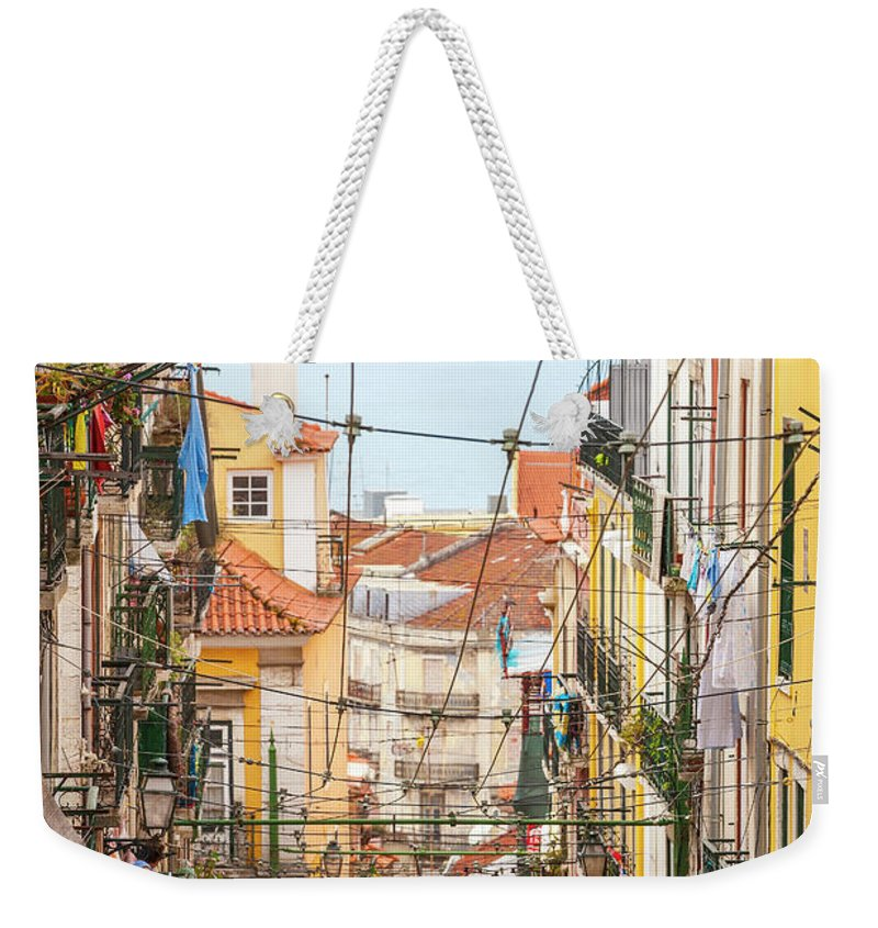 People Weekender Tote Bag featuring the photograph Tram, Barrio Alto, Lisbon, Portugal by Peter Adams