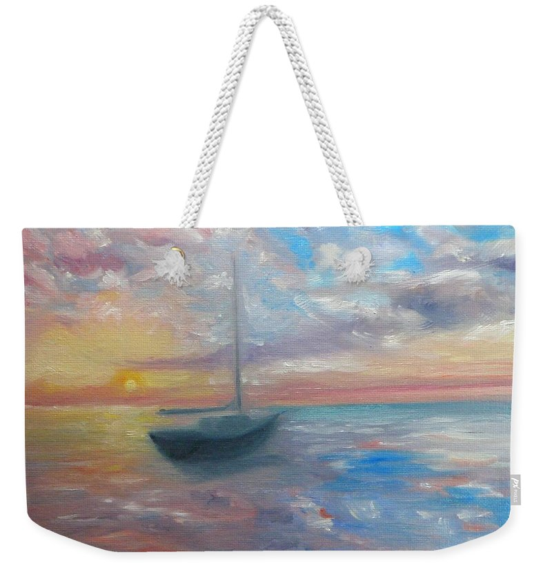 Oil Painting Weekender Tote Bag featuring the painting Tranquil Ocean Sunset by Liz Snyder