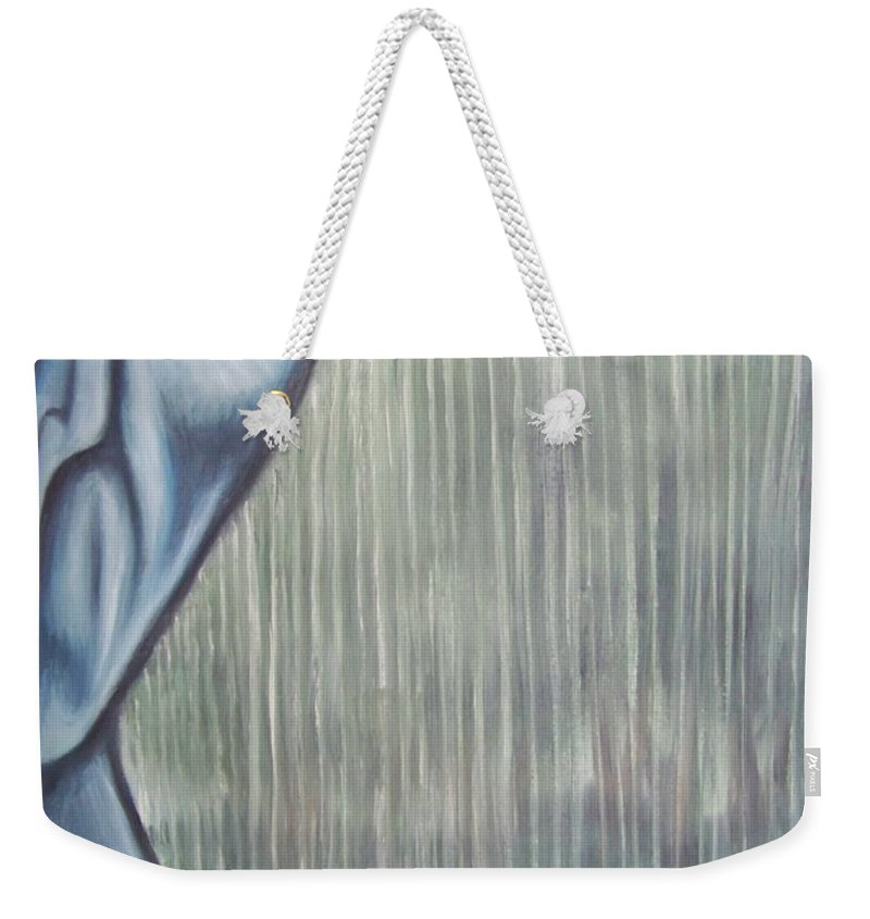 Tmad Weekender Tote Bag featuring the painting Tranquil Rain by Michael TMAD Finney