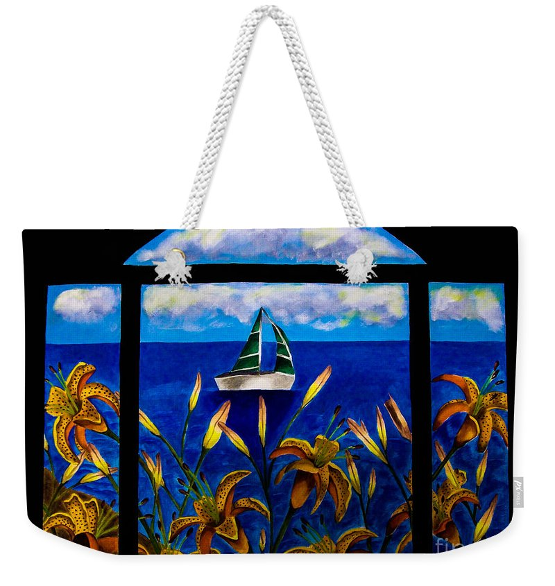 Boat. Water. Flowers. Scenic. Window. Blue. Clouds. Sky. Nature. Scenic. Fine Art. Design. Tiger Lily. Ocean . Lake. Weekender Tote Bag featuring the mixed media Tranquility Bay by Dawn Siegler