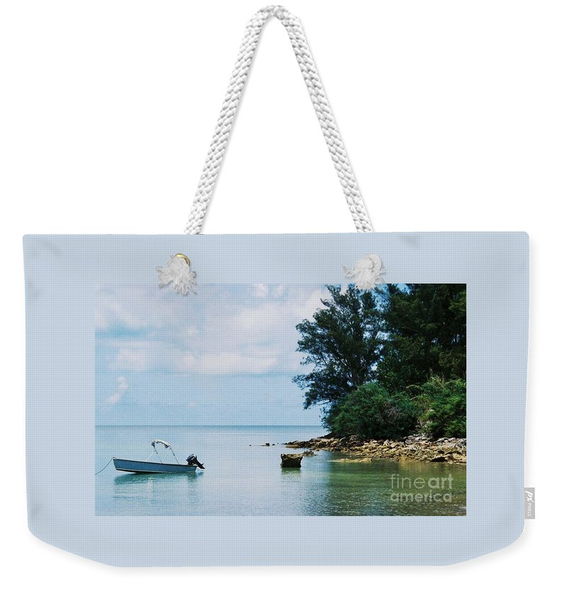 Art From Bermuda Serene Stock Shot Outdoors Nautical Scene Travel Trees Tranquil Water Reflections Calming Vision Meditation Film Stock Wood Print Metal Frame Canvas Print Poster Print Available On Tote Bags Mugs T Shirts Shower Curtains Pouches Weekender Tote Bags Phone Cases Throw Pillows Duvet Covers And Beach Towels Weekender Tote Bag featuring the photograph Tranquility In Bermuda by Marcus Dagan