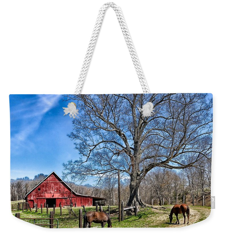 Horse Farm Weekender Tote Bag featuring the photograph Tranquitly by Catherine Balfe