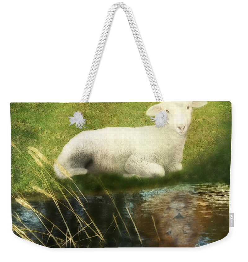 Lion And Lamb Art Weekender Tote Bag featuring the painting Transformation Lamb Or Lion by Constance Woods