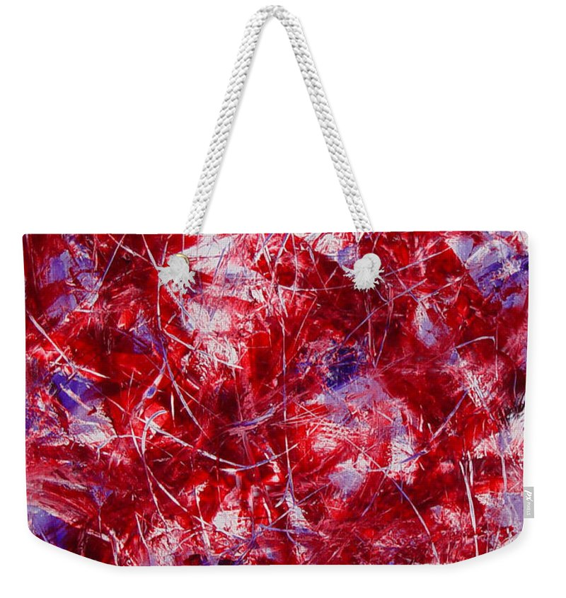 Abstract Weekender Tote Bag featuring the painting Transitions With White Red And Violet by Dean Triolo