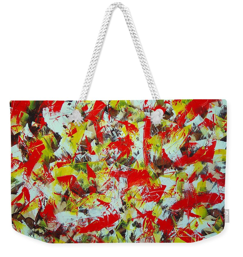 Abstract Weekender Tote Bag featuring the painting Transitions With Yellow Brown And Red by Dean Triolo