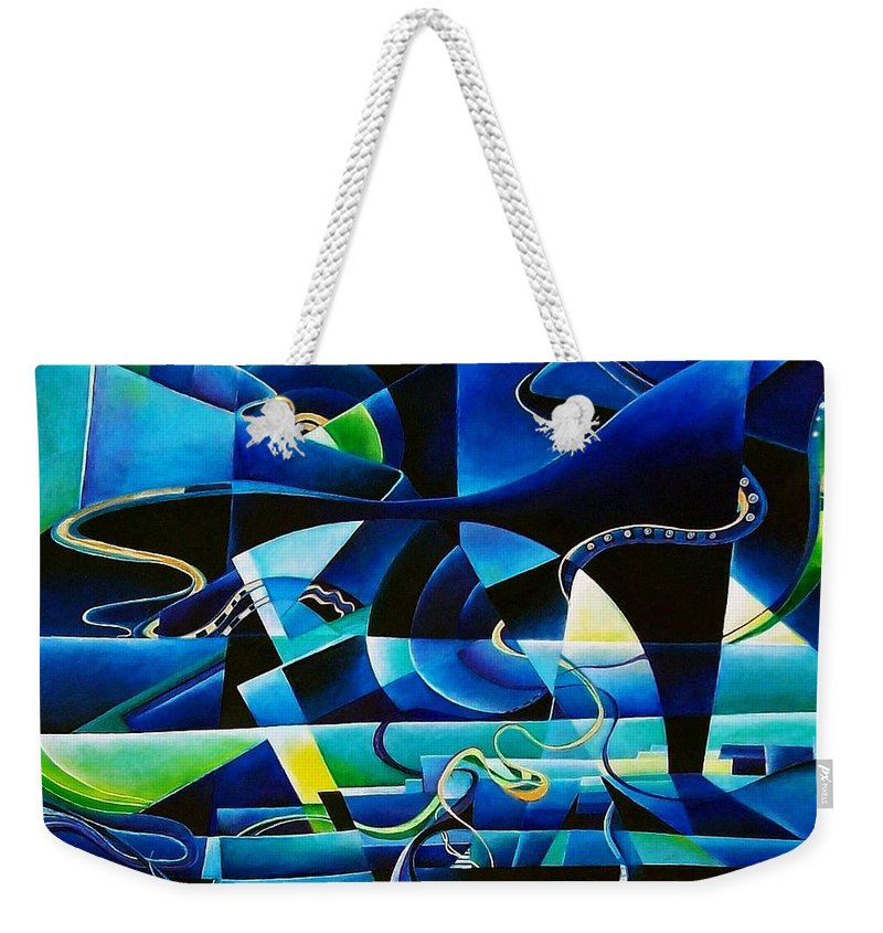 Lago Maggiore Lago Di Como Claudio Monteverdi Mass For Four Voices Kyrie Eleison Weekender Tote Bag featuring the painting Transitions by Wolfgang Schweizer