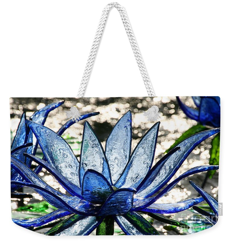 Glass Weekender Tote Bag featuring the photograph Translucent Blues by Susan Herber
