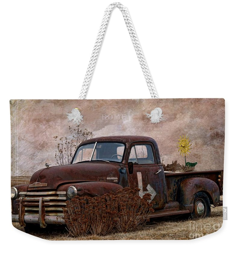 Transportation - Rusted Chevrolet 3100 Pickup Weekender Tote Bag featuring the photograph Transportation - Rusted Chevrolet 3100 Pickup by Liane Wright