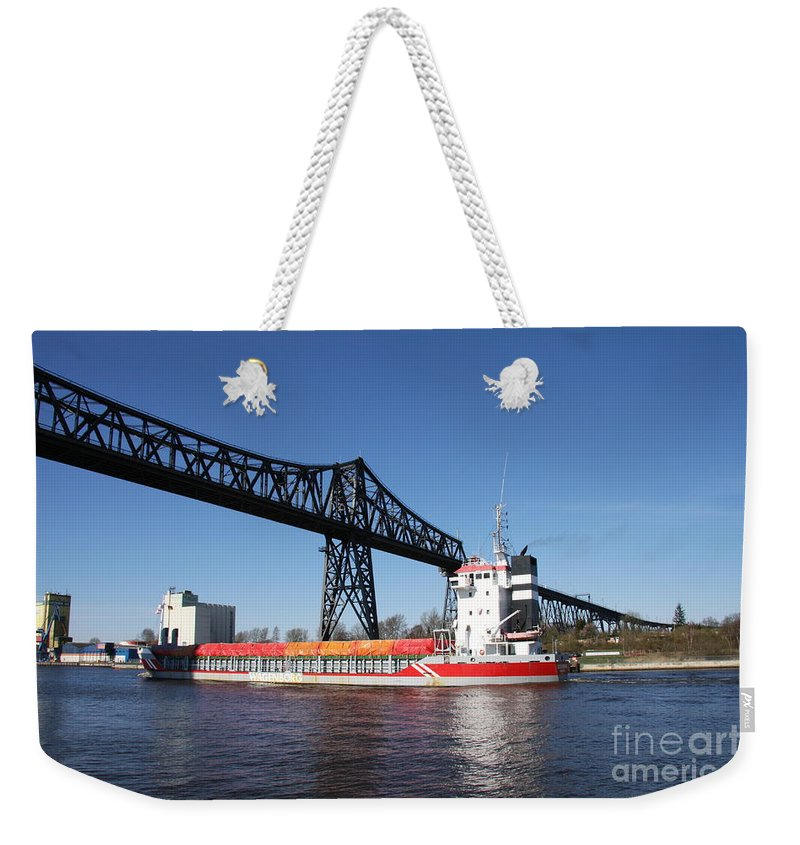 Bridge Weekender Tote Bag featuring the photograph Transporter Bridge Over Canal Rendsburg by Christiane Schulze Art And Photography