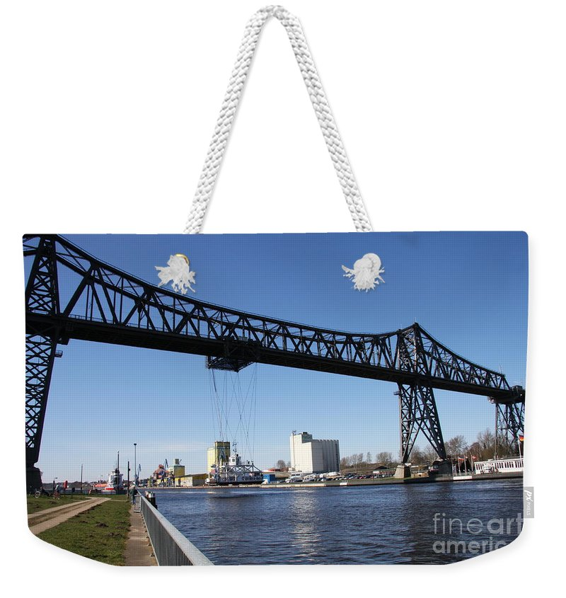 Bridge Weekender Tote Bag featuring the photograph Transporter Brigde - Schwebefaehre Rendsburg by Christiane Schulze Art And Photography