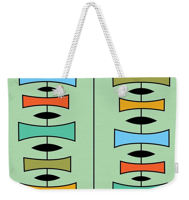 Abstract Weekender Tote Bag featuring the digital art Trapezoids 3 by Donna Mibus