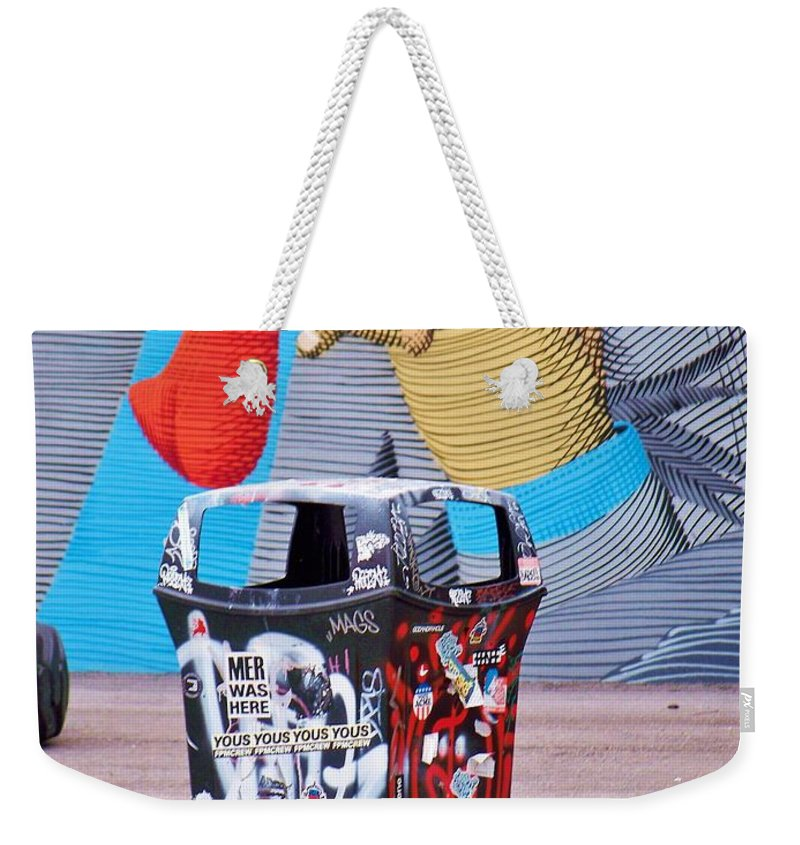 Sign Weekender Tote Bag featuring the photograph Trash Or Art by Chuck Hicks