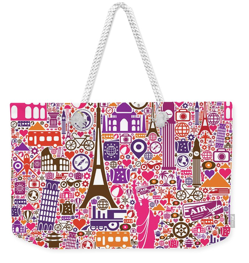Chinese Culture Weekender Tote Bag featuring the digital art Travel Seamless Pattern by Liana Monica Bordei