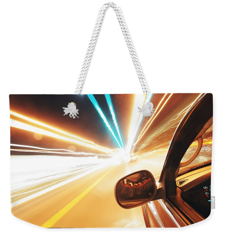 Abstract Weekender Tote Bag featuring the photograph Traveling At Speed Of Light by Alex Grichenko