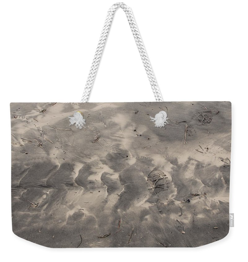 Ocean Weekender Tote Bag featuring the photograph Tread On The Beach by Jeanette C Landstrom