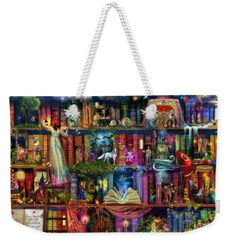 Fairytale Weekender Tote Bag featuring the digital art Fairytale Treasure Hunt Book Shelf by MGL Meiklejohn Graphics Licensing