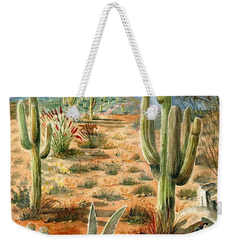 Hummingbirds Weekender Tote Bag featuring the painting Treasures of the Desert by Marilyn Smith
