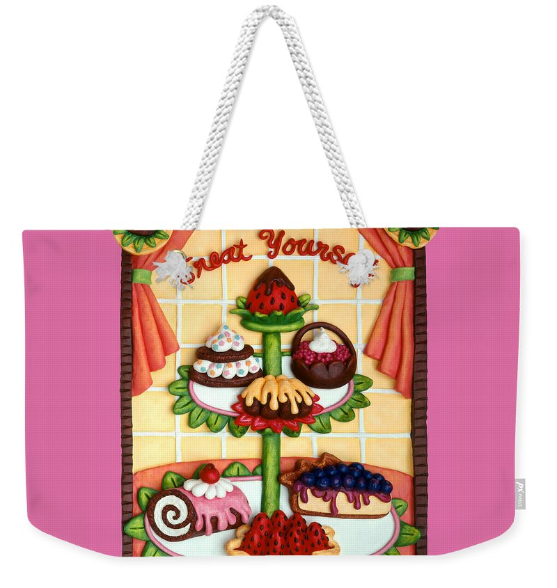 Food Weekender Tote Bag featuring the mixed media Treat Yourself by Amy Vangsgard