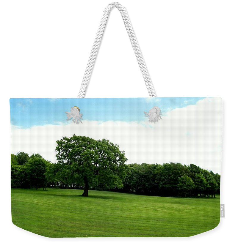 Grass Weekender Tote Bag featuring the photograph Tree Amidst Freshly Mowed Grass by Katie Beougher