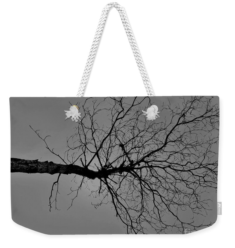 Black & White Photography Weekender Tote Bag featuring the photograph Tree Fall by Amar Sheow