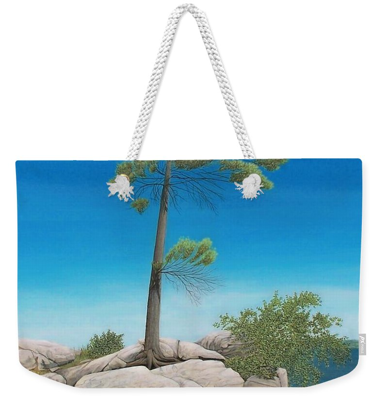 Landscapes Weekender Tote Bag featuring the painting Tree In Rock by Kenneth M Kirsch