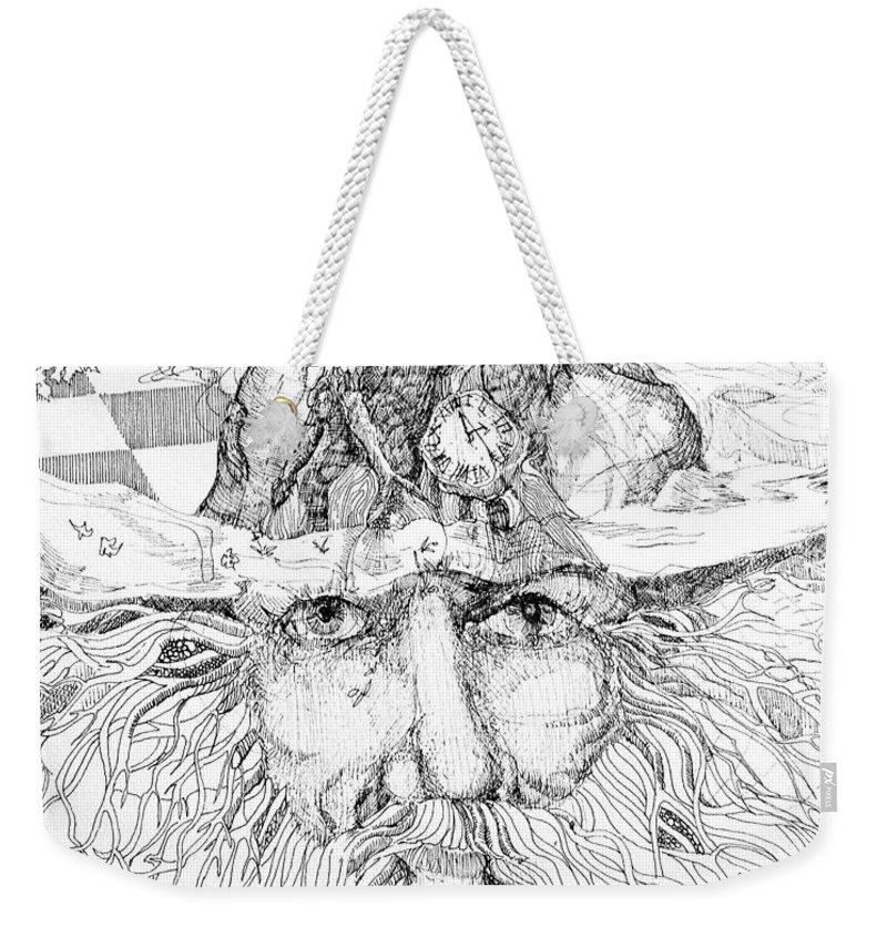 Drawing Weekender Tote Bag featuring the drawing Tree Man by Lizi Beard-Ward