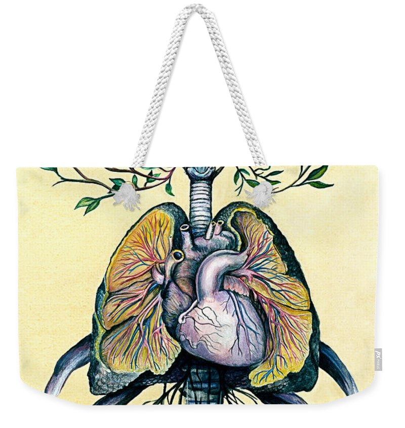 Nerves Weekender Tote Bag featuring the mixed media Tree Of Life by Michael Volpicelli