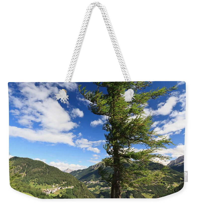 Alpine Weekender Tote Bag featuring the photograph tree over Cordevole valley by Antonio Scarpi