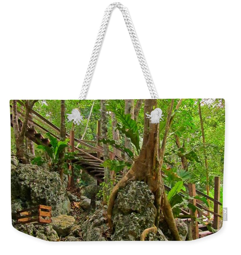 Tree Roots On Rock Weekender Tote Bag featuring the photograph Tree Roots On Rock by John Malone
