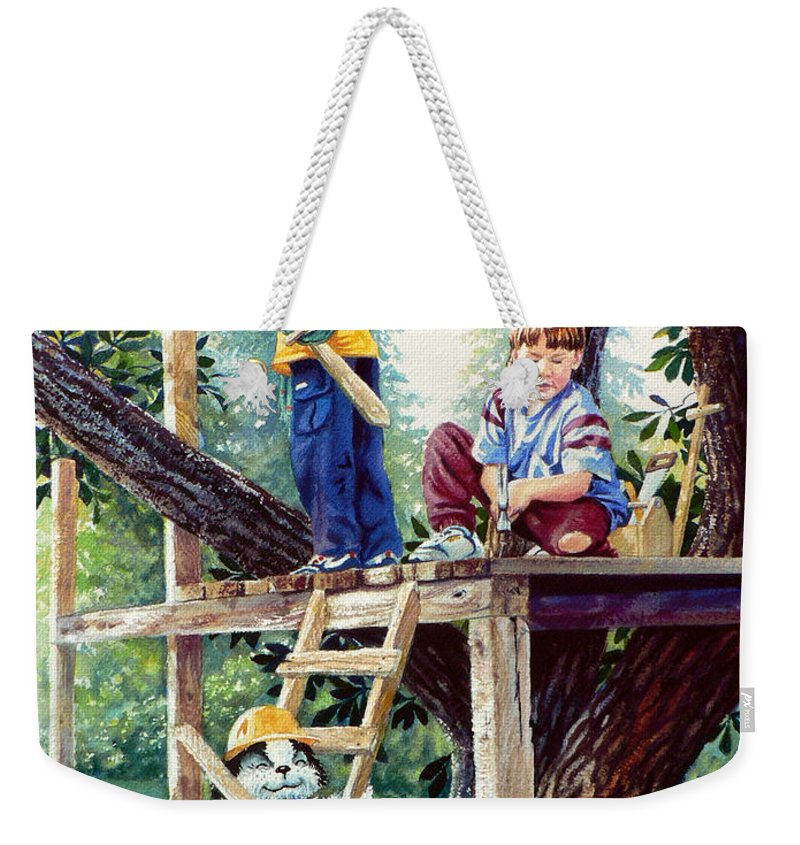 Kids Dog Treehouse Print Weekender Tote Bag featuring the painting Treehouse Magic by Hanne Lore Koehler