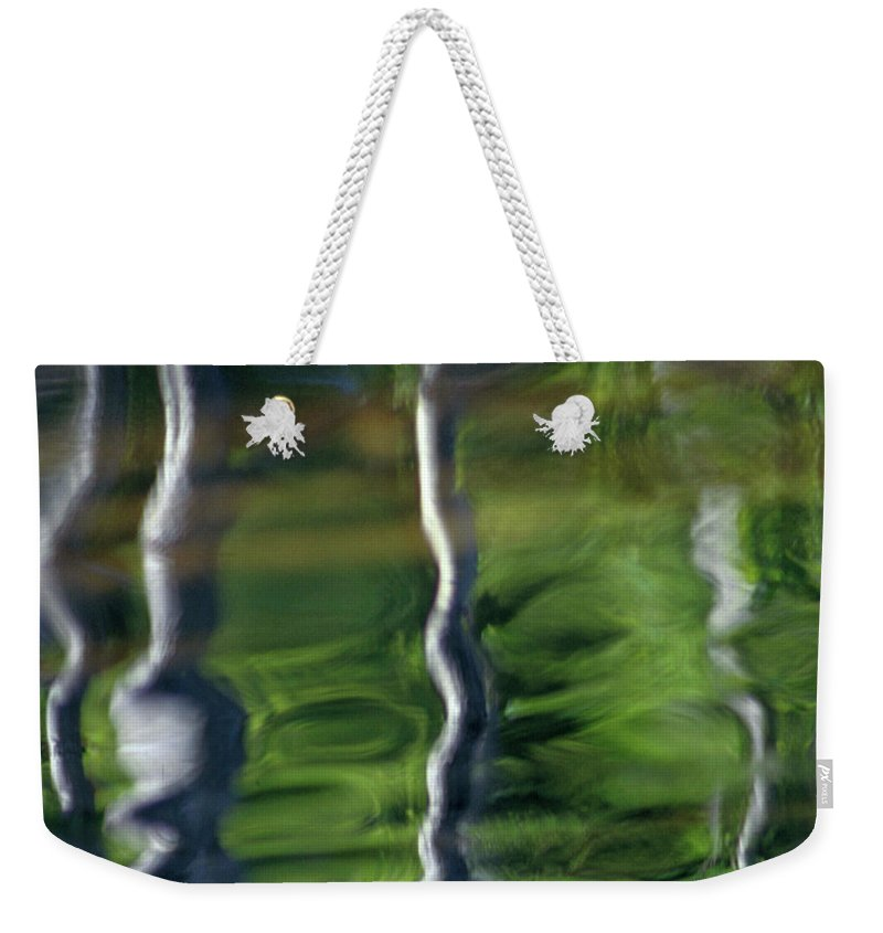 Nature Weekender Tote Bag featuring the photograph Trees Reflections On The River by Heiko Koehrer-Wagner
