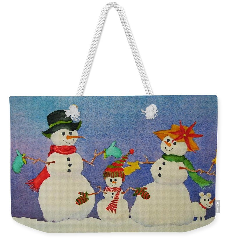 Winter Weekender Tote Bag featuring the painting Tres Chic by Mary Ellen Mueller Legault