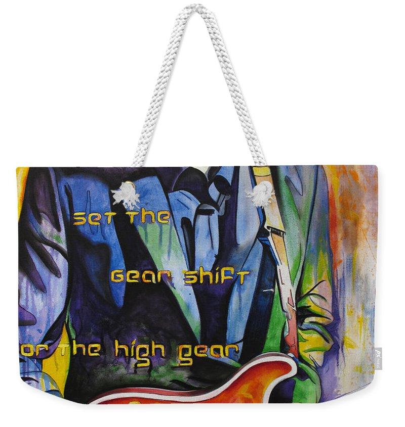 Trey Anastasio Weekender Tote Bag featuring the painting Trey Anastasio And Antelope Lryics by Joshua Morton