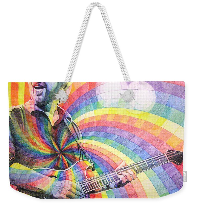 Phish Weekender Tote Bag featuring the drawing Trey Anastasio Rainbow by Joshua Morton