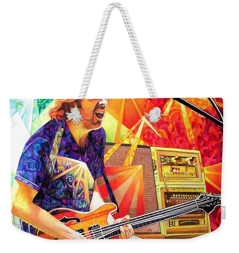 Trey Anastasio Weekender Tote Bag featuring the drawing Trey Anastasio Squared by Joshua Morton