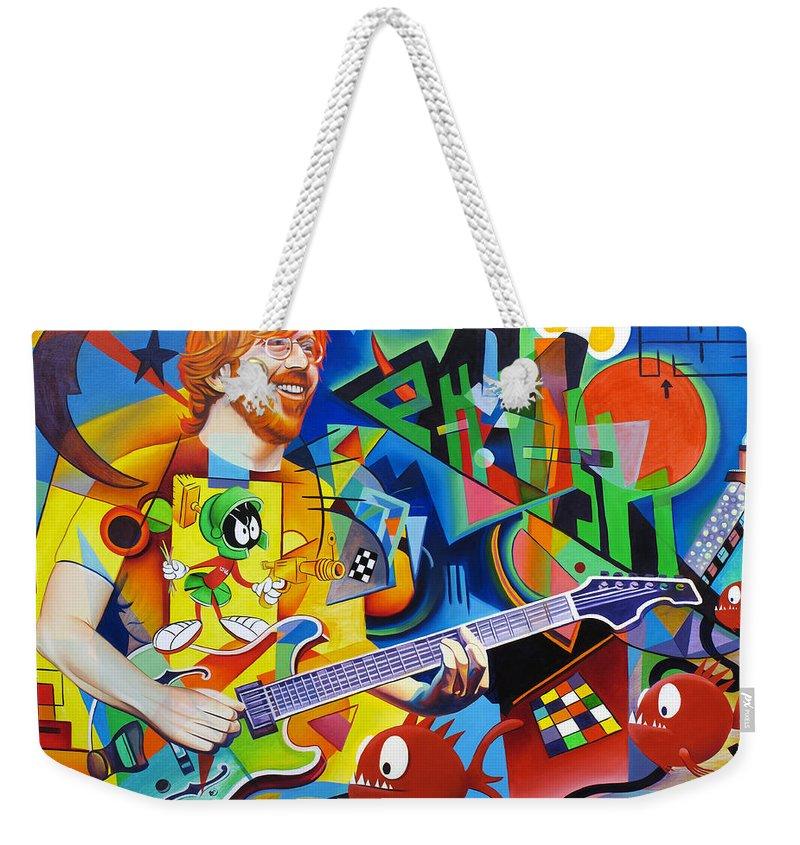 Trey Anastasio Weekender Tote Bag featuring the painting Trey Kandinsky by Joshua Morton