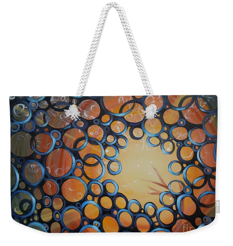 Circles Weekender Tote Bag featuring the painting Tribute To Cookie by Tonya Henderson