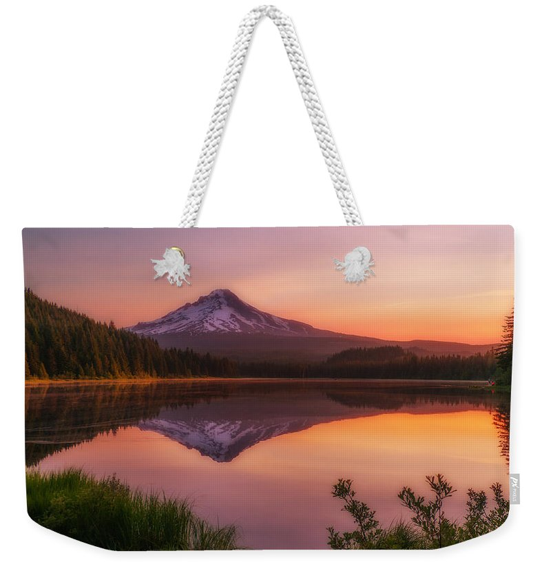 Trillium Lake Weekender Tote Bag featuring the photograph Trillium Tranquillity by Darren White