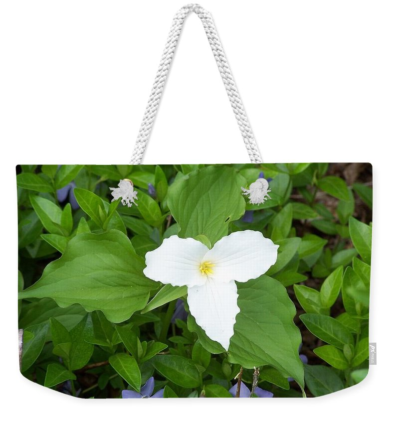 Trillium Weekender Tote Bag featuring the photograph Trillium - White Beauty by Holly Eads