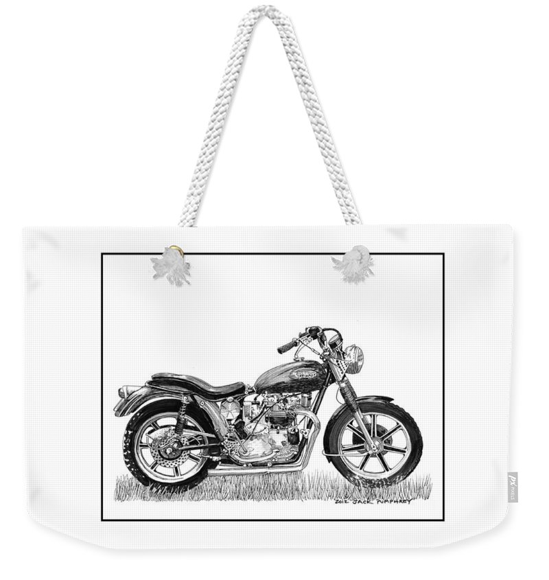 Framed Art By Jack Pumphrey Of Trimph Weekender Tote Bag featuring the drawing Trimuph In Black And White by Jack Pumphrey