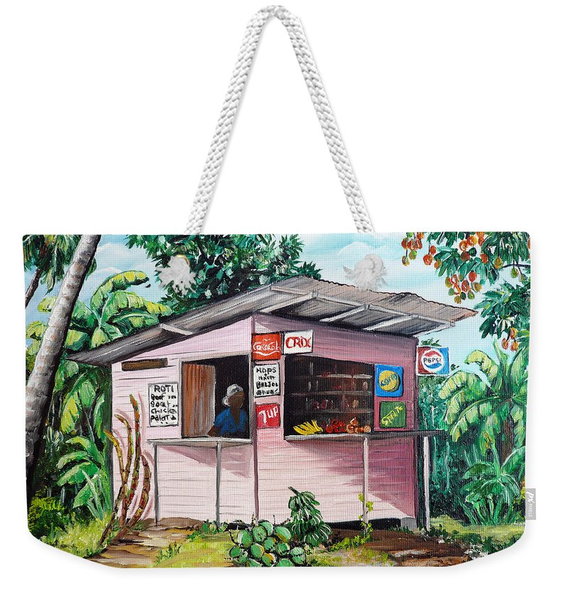 Shop Painting Weekender Tote Bag featuring the painting Trini Roti Shop by Karin Dawn Kelshall- Best