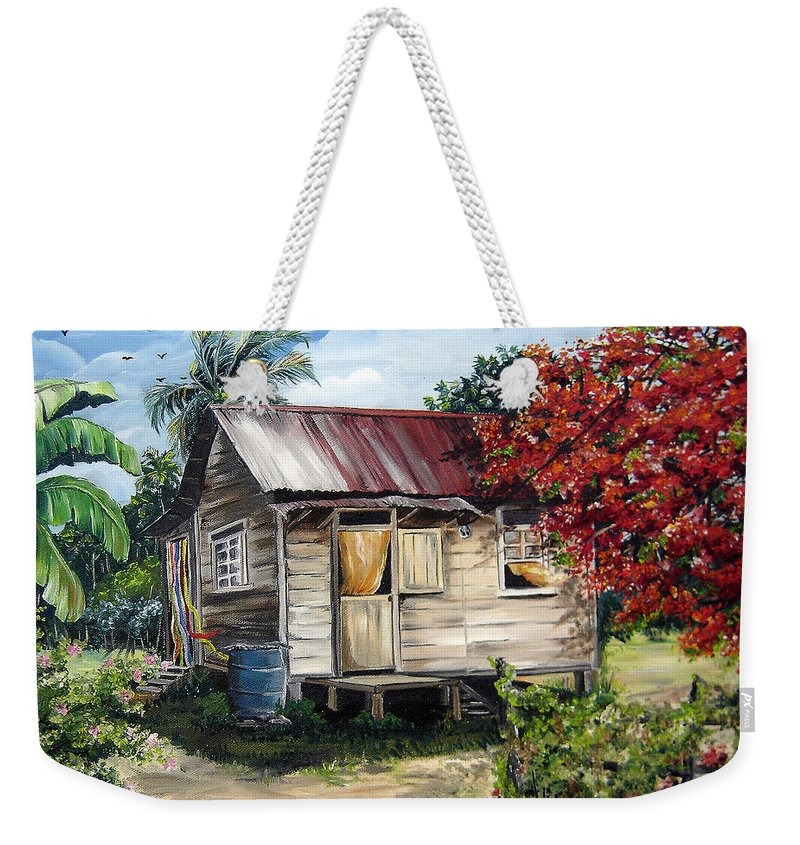 Landscape Paintings Tropical Paintings Trinidad House Paintings House Paintings Country Painting Trinidad Old Wood House Paintings Flamboyant Tree Paintings Caribbean Paintings Greeting Card Paintings Canvas Print Paintings Poster Art Paintings Weekender Tote Bag featuring the painting Trinidad Life 1 by Karin Dawn Kelshall- Best