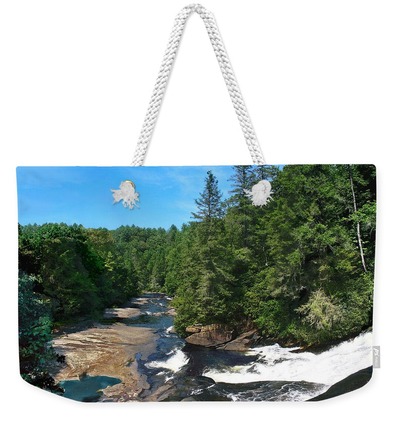 Triple Falls North Carolina Weekender Tote Bag featuring the photograph Triple Falls North Carolina by Steve Karol