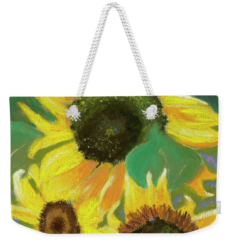 Sunflowers Weekender Tote Bag featuring the painting Triple Gold by Arlene Crafton