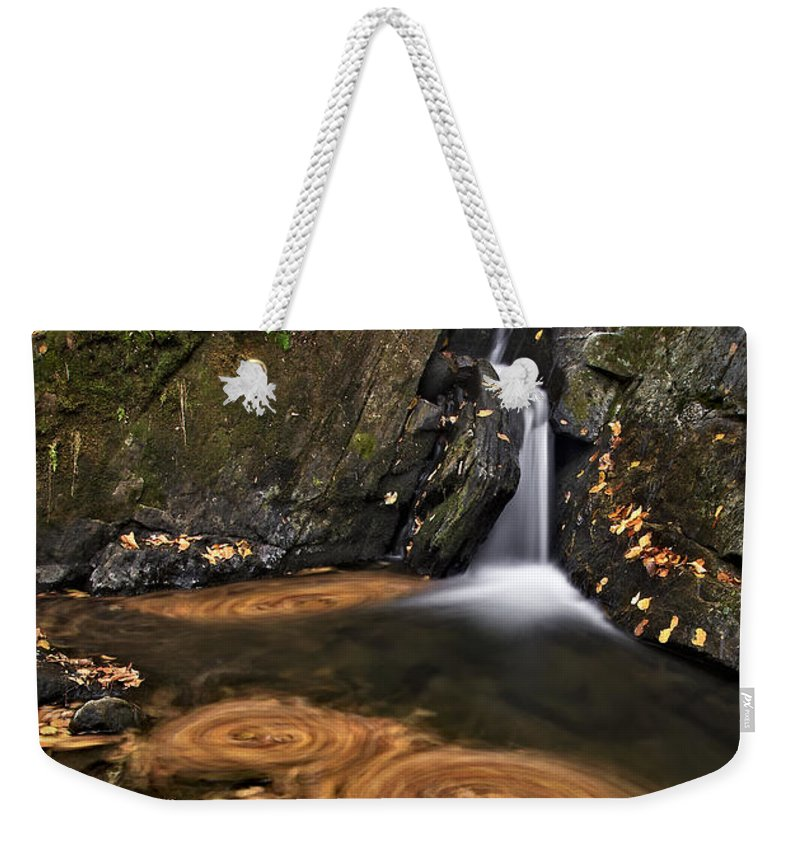 Waterfall Weekender Tote Bag featuring the photograph Triple Swirls by Susan Candelario