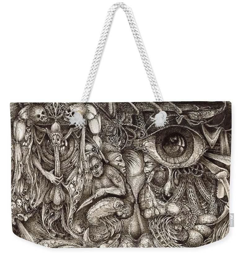 Surreal Weekender Tote Bag featuring the drawing Tripping Through Bogomils Mind by Otto Rapp